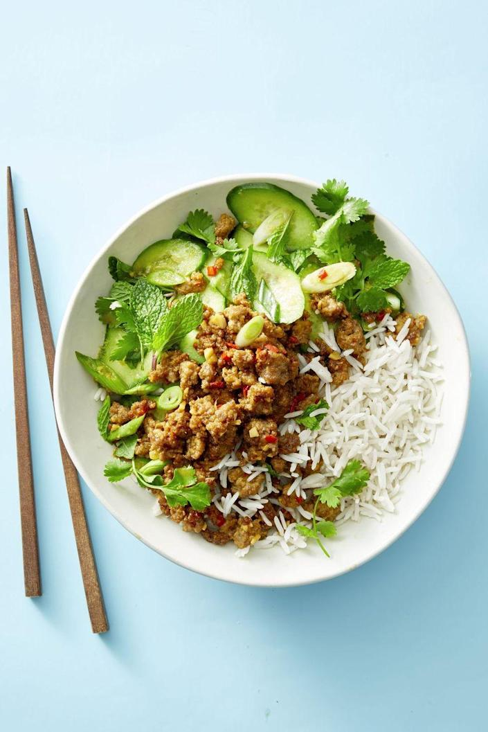 """<p>Picked up a pound of ground pork on sale, but don't want to do meatballs? Grab a few fresh herbs and give this bowl a whirl.</p><p><em><a href=""""https://www.goodhousekeeping.com/food-recipes/easy/a19855090/ginger-pork-and-cucumber-salad-recipe/"""" rel=""""nofollow noopener"""" target=""""_blank"""" data-ylk=""""slk:Get the recipe for Ginger Pork and Cucumber Salad »"""" class=""""link rapid-noclick-resp"""">Get the recipe for Ginger Pork and Cucumber Salad »</a></em></p>"""