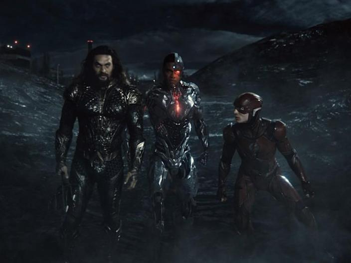 Jason Momoa as Aquaman, Ray Fisher as Cyborg and Ezra Miller as the Flash