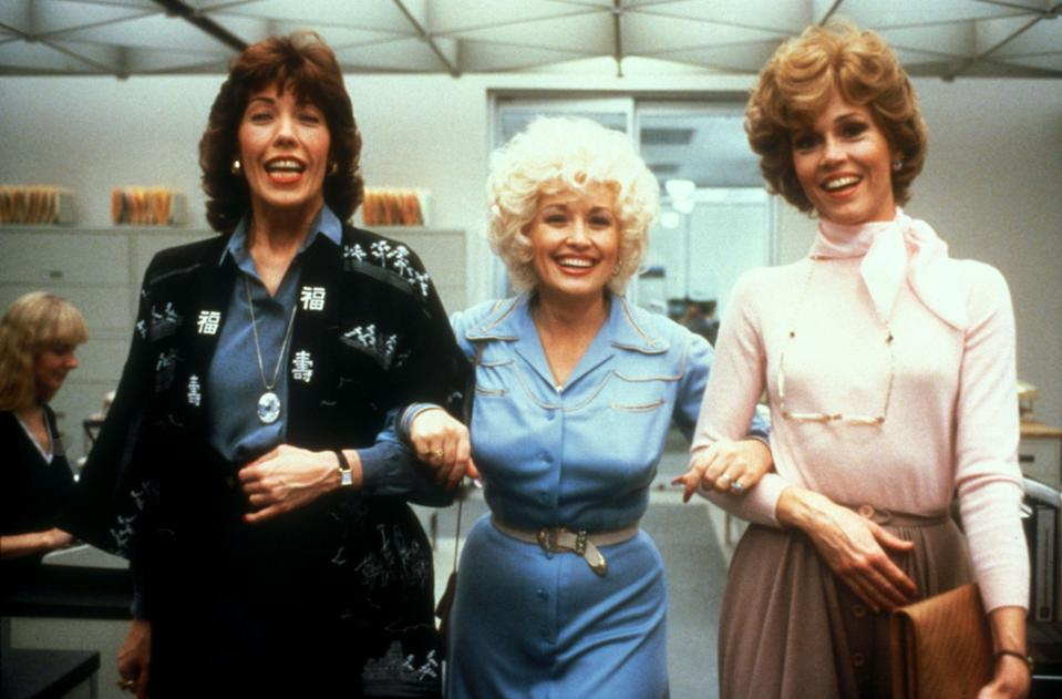 "<p><strong><em>9 to 5</em></strong>(1980)</p><p>After enduring the treatment of their male chauvinist pig of a boss, secretaries and assistants Judy Bernly (Jane Fonda), Violet Newstead (Lily Tomlin), and Doralee Rhodes (Dolly Parton) develop the same dream: Kick him out, and run the business themselves. Their fantasy of doing away with the boss turns into a reality when the women accidentally poison his coffee.</p><p><strong>Why You Should Watch It:</strong> Though it's a comedy, <em>Nine to Five</em> identifies the toxic power imbalances in workplaces that have been the focus of discussions as of late. <em>9 to 5</em> is prescient – and it's also a delight to watch Tomlin, Fonda, and Parton act alongside one another.</p><span class=""copyright"">20th Century Fox/Kobal/REX/Shutterstock</span>"