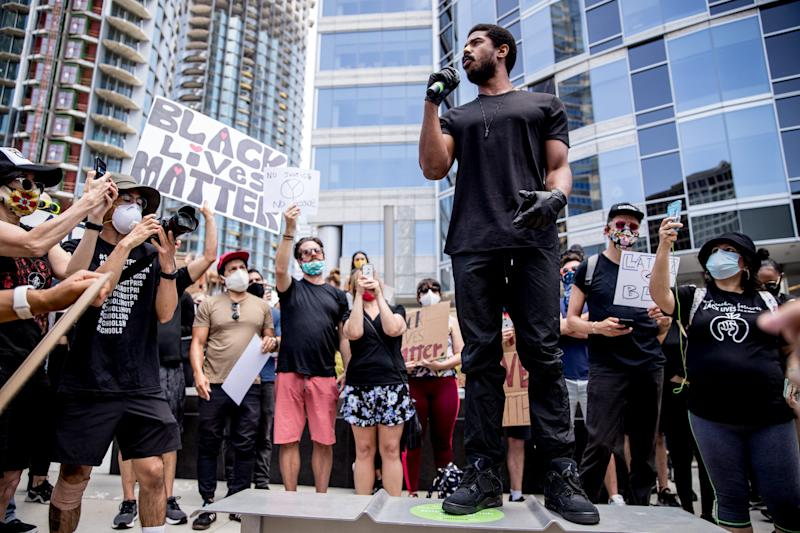 Michael B. Jordan spoke at a Los Angeles march in support of Black Lives Matter on June 6, 2020, in Beverly Hills, Calif.