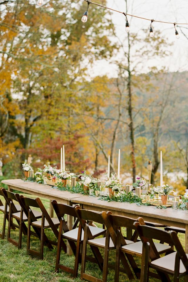 <p>Embrace the season with an open-air reception. There's no better time of year for string lights, long wooden tables, and mountainside views.</p>