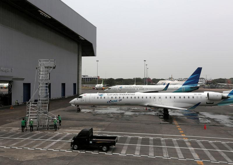 Garuda Indonesia airplane is seen at the Garuda Maintenance Facility AeroAsia in Tangerang