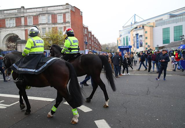 Police patrol outside Stamford Bridge ahead of Chelsea and West Ham United. (Photo by Julian Finney/Getty Images)