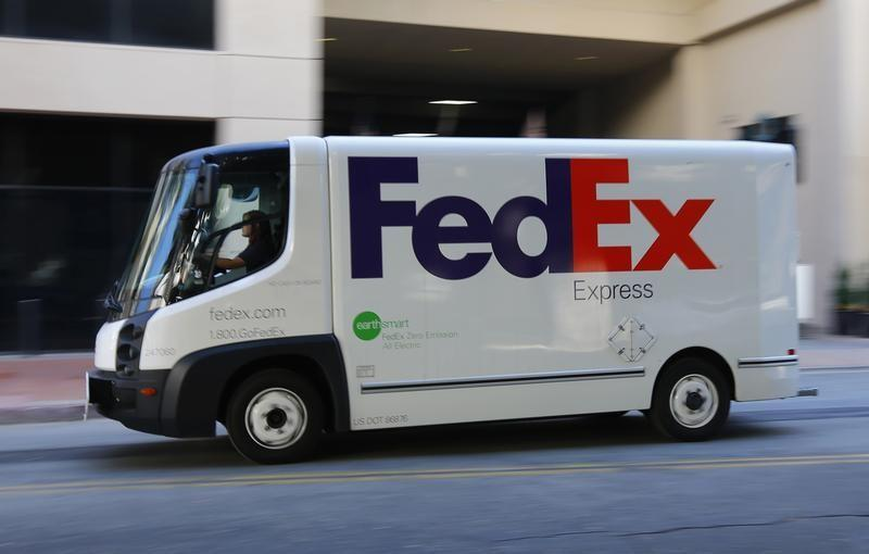 An all-electric FedEx delivery truck is seen in San Diego