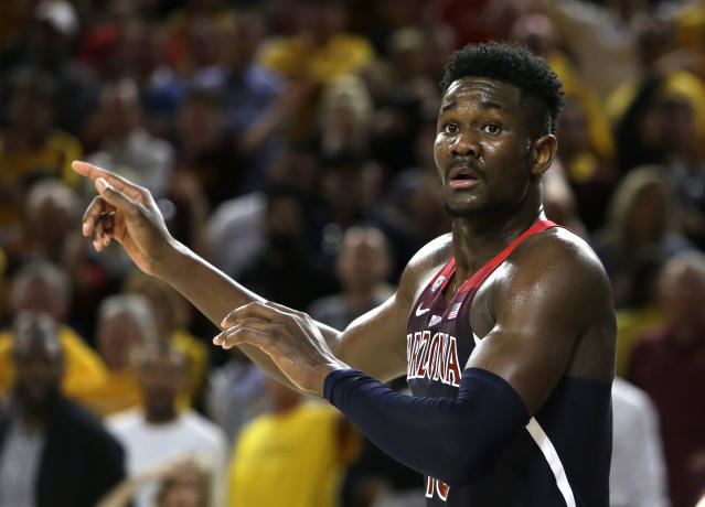 Arizona forward Deandre Ayton (13) in the second half during an NCAA college basketball game against Arizona State, Thursrday, Feb. 15, 2018, in Tempe, Ariz. Arizona defeated Arizona State 77-70. (AP Photo/Rick Scuteri)