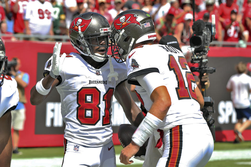 Tampa Bay Buccaneers wide receiver Antonio Brown (81) celebrates his 62-yard touchdown reception with quarterback Tom Brady (12) during the first half of an NFL football game against the Miami Dolphins Sunday, Oct. 10, 2021, in Tampa, Fla. (AP Photo/Mark LoMoglio)