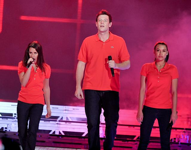 TORONTO, ON - JUNE 11: (L-R) Lea Michele, Cory Monteith and Naya Rivera of the TV show 'Glee' perform at Air Canada Centre on June 11, 2011 in Toronto, Canada. (Photo by George Pimentel/Getty Images)