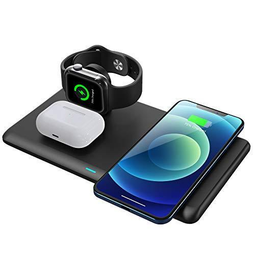 Hosaud 3 in 1 Fast Qi Wireless Charging Station for iPhone, AirPods, More
