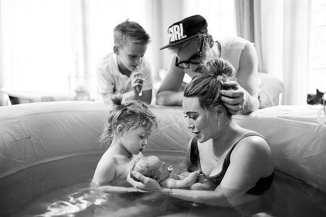 """<p>Hilary Duff has welcomed her third child.</p><p>The 33-year-old actor took to her Instagram account on Saturday (March 27) to share a photo from her home-water birth, surrounded by her family.</p><p>In the caption, the mother-of-three revealed that she and her husband Matthew Koma recently welcomed a baby girl named Mae James Bair. The child's middle name James is identical to the first name Blake Lively and Ryan Reynolds' eldest daughter.<br></p><p>In the photo, Duff can be seen in the birthing pool with her two-year-old daughter, Banks, while Koma and her son Luca, nine, lean on the pool's side. Along with the name announcement, the star wrote in the photo caption: 'We LOVE you beauty' before adding the newest addition's birthday: ' 3-24-21. [sic]' </p><p><a href=""""https://www.instagram.com/p/CM7alyzDuP3/?igshid=uvhkuxgesahz"""" rel=""""nofollow noopener"""" target=""""_blank"""" data-ylk=""""slk:See the original post on Instagram"""" class=""""link rapid-noclick-resp"""">See the original post on Instagram</a></p>"""