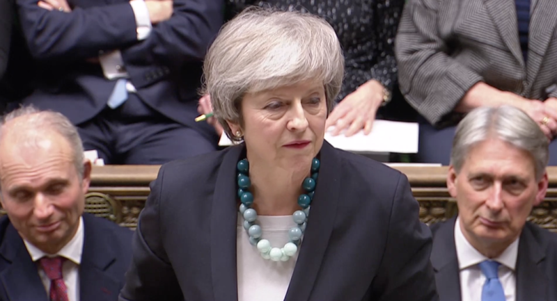 The prime minister delivers the news of the Brexit vote delay in the Commons on Monday. (PA/BBC)