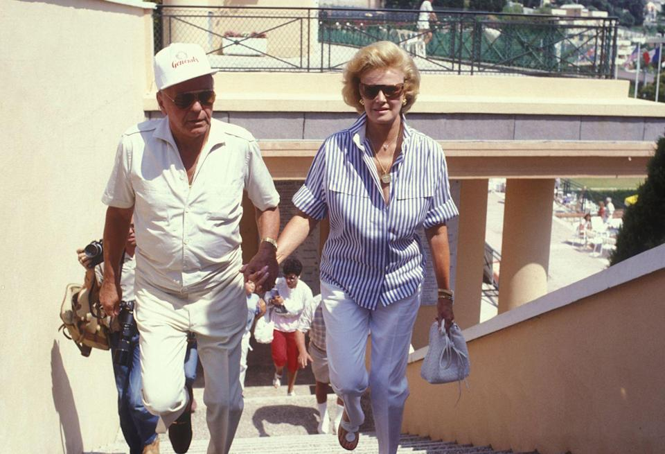<p>Frank Sinatra and his wife, Barbara, attend the celebrity tennis tournament in Monaco.</p><p>Other celebrity visitors this year: Michael Sardou.</p>