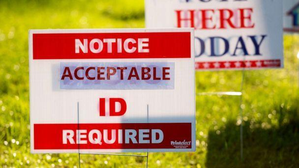 PHOTO: Signs greet voters at the Ruckersville Volunteer Fire Company vote location in Ruckersville, Va., on Election Day, Nov. 3, 2020. (Bill Clark/AP, FILE)