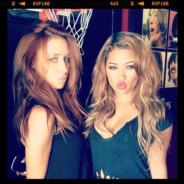 Celebrity photos: The Saturdays have been spending lots of time in the recording studio since they jetted off to America a few weeks ago. To keep themselves entertained they've been tweeting photos of each other – including this one of Una Healy and Vanessa White pulling their best pouts.