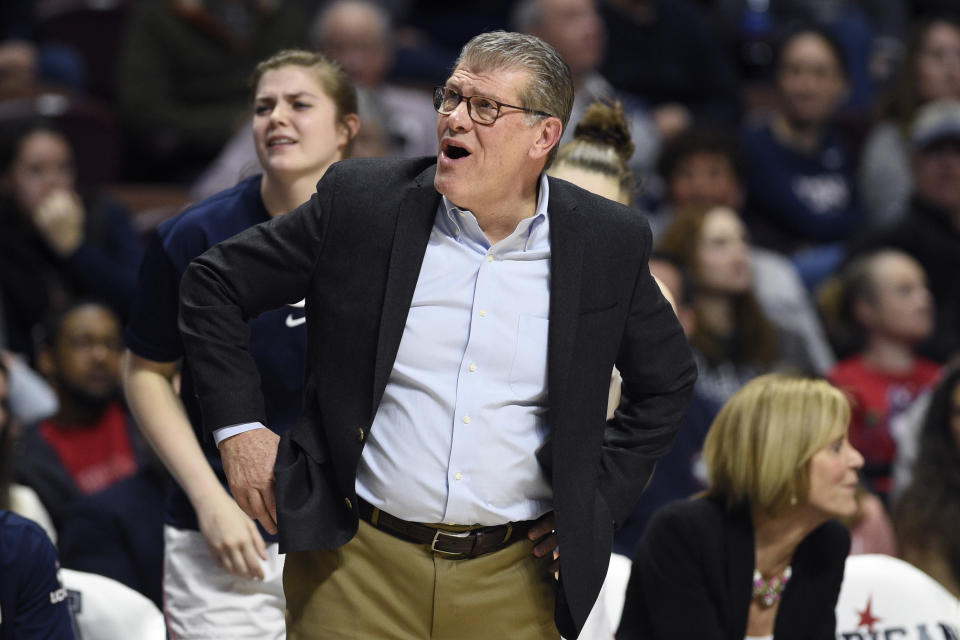 Connecticut head coach Geno Auriemma reacts during the second half of an NCAA college basketball game in the American Athletic Conference tournament semifinals against South Florida at Mohegan Sun Arena, Sunday, March 8, 2020, in Uncasville, Conn. (AP Photo/Jessica Hill)