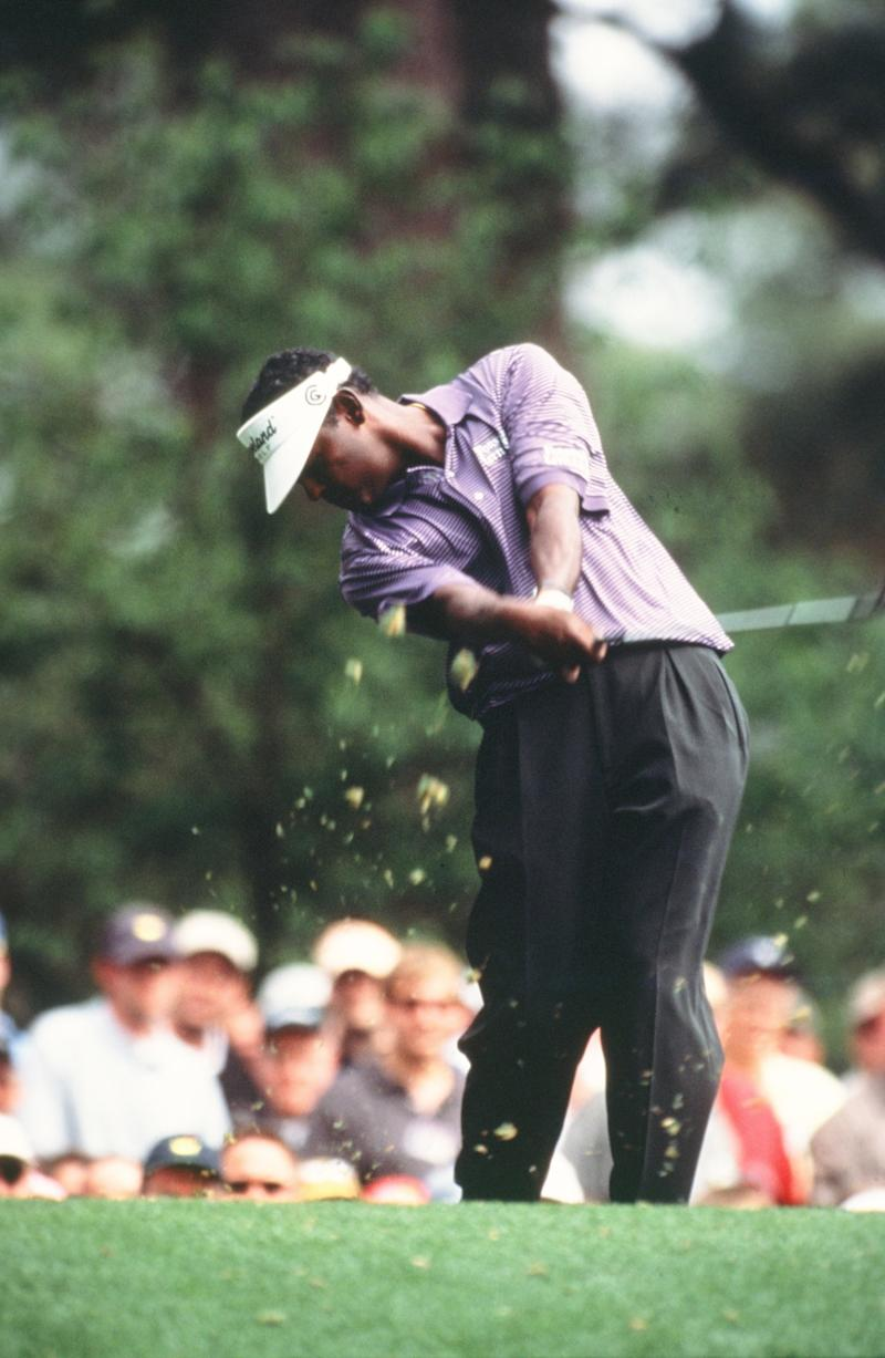 Vijay Singh Swings During The 2002 Masters Tournament (Photo by Augusta National/Getty Images)