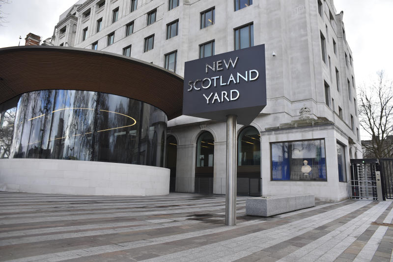 New Scotland Yard headquarters is pictured in central London, on March 27, 2018. (Photo by Alberto Pezzali/NurPhoto via Getty Images)