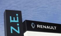 A Renault ZE (Zero Emission) logo for electric cars is seen at a Renault automobile dealership in Cagnes-Sur-Mer