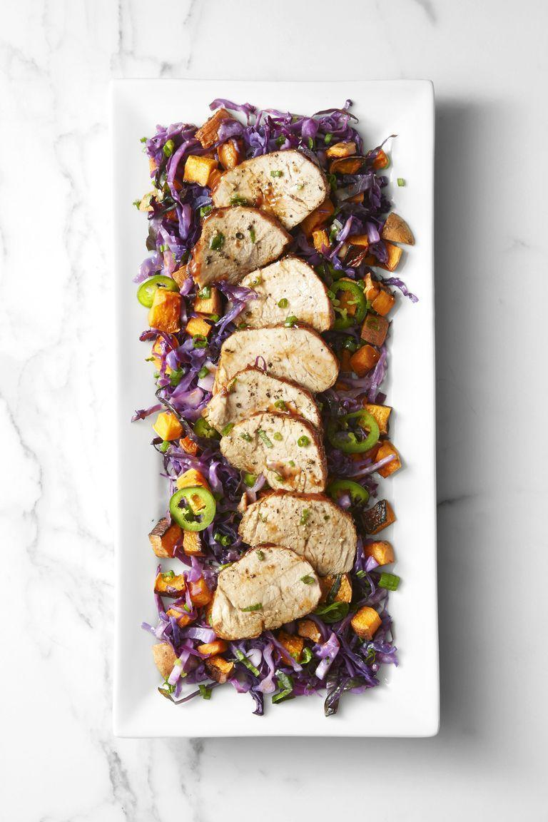 """<p>This light, roast pork recipes has all the lean protein that you want, with a kick of spicy cabbage.<br></p><p><em><a href=""""https://www.goodhousekeeping.com/food-recipes/a45219/creamy-potato-salad-recipe/"""" rel=""""nofollow noopener"""" target=""""_blank"""" data-ylk=""""slk:Get the recipe for Roast Pork and Sweet Potatoes with Spicy Cabbage »"""" class=""""link rapid-noclick-resp"""">Get the recipe for Roast Pork and Sweet Potatoes with Spicy Cabbage »</a></em></p>"""