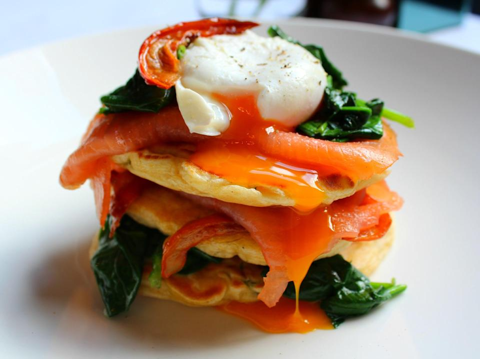 Mark Greenaway's fritters with salmon and egg are the perfect to start to any day, let alone your dad's (Mark Greenaway)