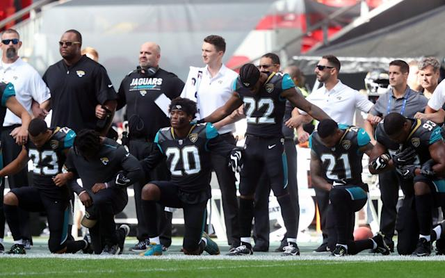 "NFL teams will be fined if their players continue to kneel during the national anthem next season, it was announced on Wednesday. The league's commissioner Roger Goodell revealed that a new policy would lead to teams being fined should their players refuse to stand when the anthem is performed. The law changes were agreed by the 32 NFL team owners at their annual Spring League Meeting. ""The policy adopted today was approved in concert with the NFL's ongoing commitment to local communities and our country -- one that is extraordinary in its scope, resources, and alignment with our players,"" Goodell said in a statement. ""We are dedicated to continuing our collaboration with players to advance the goals of justice and fairness in all corners of our society. ""It was unfortunate that on-field protests created a false perception among many that thousands of NFL players were unpatriotic. This is not and was never the case."" In additional changes NFL players will no longer be required to take to the field for the anthem, with personnel permitted to remain in the locker room or elsewhere off the field until after the anthem has been performed. The NFL Players Association responded to the news in a statement claiming they had not been consulted about the new policy. pic.twitter.com/3FvuGyy4tA— NFLPA (@NFLPA) 23 May 2018 The NFL has come under pressure from President Donald Trump along with a number of voices in the United States over the anthem protests, which first began in 2016 when then-San Francisco 49ers quarterback Colin Kaepernick kneeled during the anthem to highlight issues of social inequality. A speech by Trump in September 2017 during a rally in Alabama then led to a rise in protests from NFL personnel.""Wouldn't you love to see one of these NFL owners, when somebody disrespects our flag, to say, 'Get that son of a bitch off the field right now. Out! He's fired. He's fired!',"" Trump said at the time. The President's comments sparked mass protests at NFL games throughout the rest of the season, including the following weekend at Wembley Stadium when the Jacksonville Jaguars faced the Baltimore Ravens. Shahid Kahn, the Jaguars owner, linked arms with his players on the sidelines during the anthem."