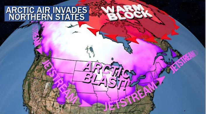 A graphic showing colder air being pushed into the northern U.S. / Credit: CBS News