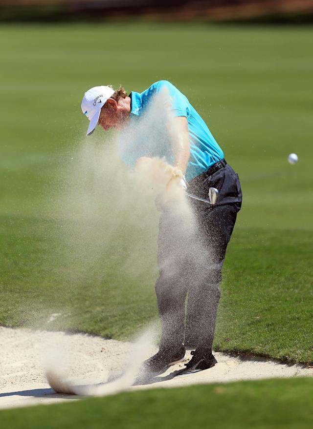 PONTE VEDRA BEACH, FL - MAY 10: Ernie Els of South Africa plays his second shot at the par 4, 15th hole during the first round of THE PLAYERS Championship held at THE PLAYERS Stadium course at TPC Sawgrass on May 10, 2012 in Ponte Vedra Beach, Florida. (Photo by David Cannon/Getty Images)