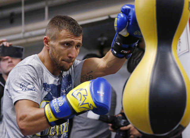 Vasyl Lomachenko, of Ukraine, works out at a New York boxing gym Wednesday. (AP)