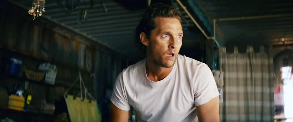 McConaughey learns that he's living in a computer simulation in <em>Serenity.</em> (Photo: Aviron Pictures/Courtesy Everett Collection)