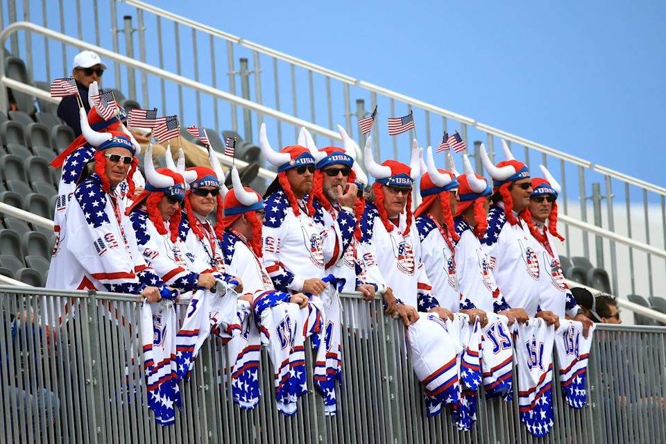 Fans look on during the celebrity matches ahead of the 43rd Ryder Cup