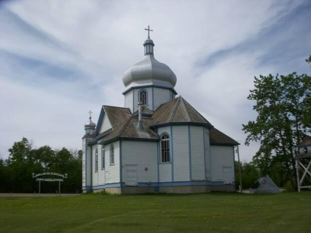 The RCMP say a bell weighing about 230 kilograms was recently stolen from this central Alberta church in Hay Lakes, a village located south of Edmonton. (Submitted by Mark Bayrock - image credit)