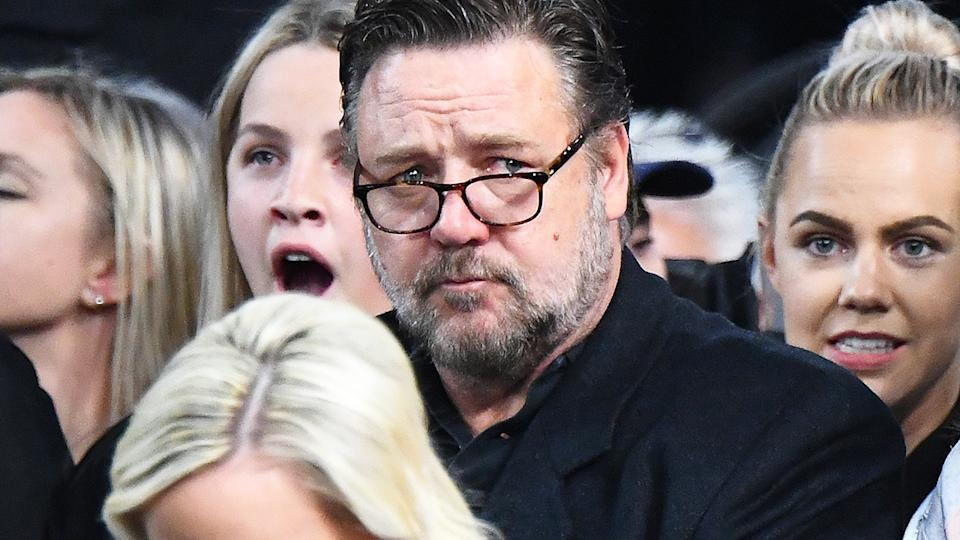 Russell Crowe, pictured here at a Team Australia basketball game.