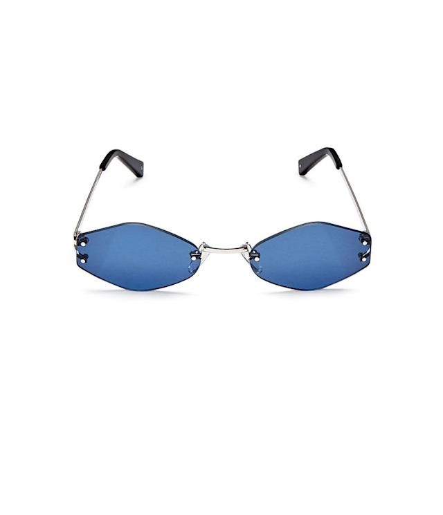 "<p>Rimless oval sunglasses, $80, <a href=""https://www.bloomingdales.com/shop/product/kendall-kylie-kye-rimless-oval-sunglasses-51mm?ID=2718312&CategoryID=4520#fn=BRAND%3DKENDALL%20and%20KYLIE%26ppp%3Dundefined%26sp%3D1%26rId%3D15%26spc%3D10%26spp%3D1%26pn%3D1%7C1%7C1%7C10%26rsid%3Dundefined"" rel=""nofollow noopener"" target=""_blank"" data-ylk=""slk:bloomingdales.com"" class=""link rapid-noclick-resp"">bloomingdales.com</a> </p>"