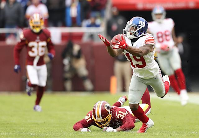 <p>Wide receiver Corey Coleman #19 of the New York Giants attempts to pull in a catch in the first quarter against the Washington Redskins at FedExField on December 9, 2018 in Landover, Maryland. (Photo by Rob Carr/Getty Images) </p>