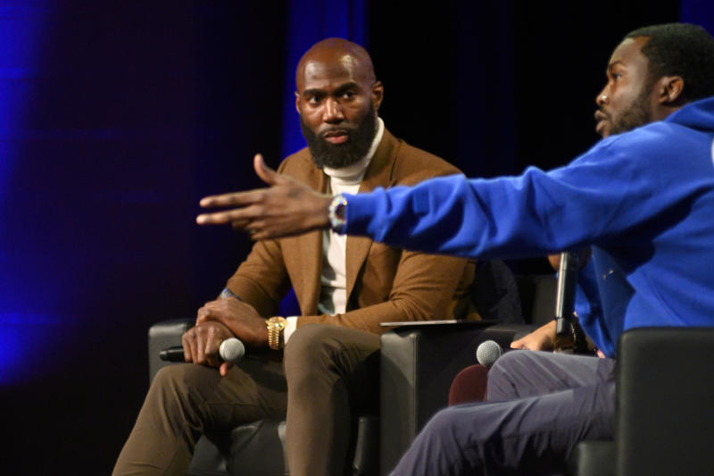 Malcolm Jenkins listen as Meek Mill speaks during the Players Coalition Town Hall on Policing in the city, at Community College of Philadelphia, PA, on October 28 2019. (Photo by Bastiaan Slabbers/NurPhoto via Getty Images)