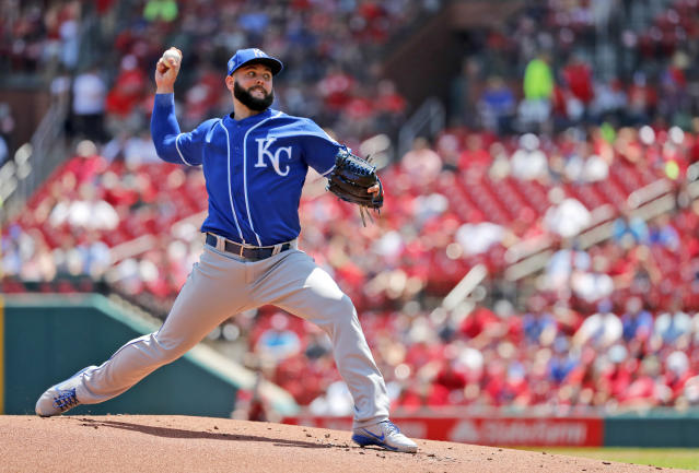 Kansas City Royals starting pitcher Jakob Junis throws during the first inning of a baseball game against the St. Louis Cardinals Wednesday, May 23, 2018, in St. Louis. (AP Photo/Jeff Roberson)