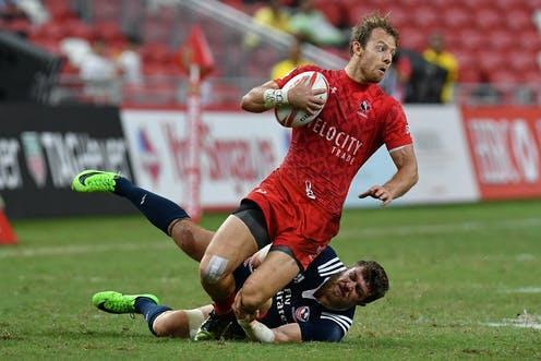 """<span class=""""caption"""">Many rugby players suffer concussions.</span> <span class=""""attribution""""><a class=""""link rapid-noclick-resp"""" href=""""https://www.shutterstock.com/image-photo/singaporeapril-16-action-during-hsbc-world-638089558"""" rel=""""nofollow noopener"""" target=""""_blank"""" data-ylk=""""slk:mfauzisaim/ Shutterstock"""">mfauzisaim/ Shutterstock</a></span>"""