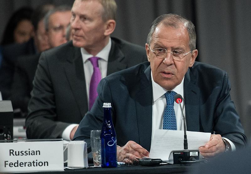 """Russian Foreign Minister Sergei Lavrov, pictured on May 11, 2017, said he was """"unaware"""" that Russia had been given any warning ahead of the US strike (AFP Photo/NICHOLAS KAMM)"""