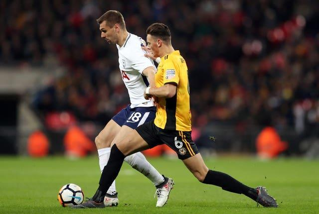 Ben White, right, spent the 2017-18 season on loan at League Two Newport, including playing an FA Cup tie against Tottenham at Wembley