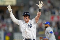 New York Yankees Luke Voit (59) reacts as as Kansas City Royals player leaves the field after hitting walk-off RBI single to give the Yankees a 6-5 win over the Royals in the bottom of the ninth inning of a baseball game, Wednesday, June 23, 2021, at Yankee Stadium in New York. (AP Photo/Kathy Willens)