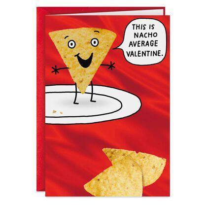 """<p>hallmark.com</p><p><strong>$3.69</strong></p><p><a href=""""https://www.hallmark.com/cards/greeting-cards/nacho-average-valentine-funny-valentines-day-card-369ZV8072.html"""" rel=""""nofollow noopener"""" target=""""_blank"""" data-ylk=""""slk:Shop Now"""" class=""""link rapid-noclick-resp"""">Shop Now</a></p><p>Ian Palmer, </p><p>""""I love a good dad joke, and this punny Valentine's card is cringe-inducing in all the best ways.""""</p>"""