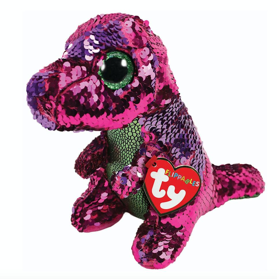 """Remember beanie babies? They're back, but this time with sequins. Stroke the plush toy one way to reveal one sequin colour, then to other way to reveal another.<br />Price: £8<br />Ages: 3+<br /><a href=""""http://www.hamleys.com/ty-diamond-unicorn-sequin-flippable-boo.ir"""" target=""""_blank"""" rel=""""noopener noreferrer"""">Click here to buy.</a>"""