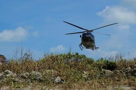 An unidentified helicopter lands at the Marsh Harbor Medical Clinic in the aftermath of Hurricane Dorian in Marsh Harbour