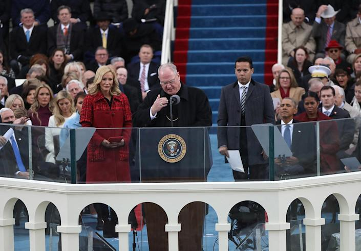 <p>Timothy Michael Cardinal Dolan delivers the invocation before U.S. President-elect Donald Trump is sworn in by Supreme Court Chief Justice John Roberts during inauguration ceremonies in Washington on Jan. 20, 2017. (Photo: Carlos Barria/Reuters) </p>