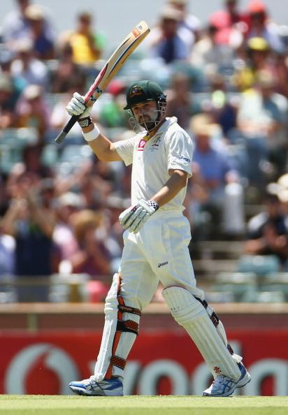 PERTH, AUSTRALIA - DECEMBER 03:  Ed Cowan of Australia celebrates after scoring his half century during day four of the Third Test Match between Australia and South Africa at WACA on December 3, 2012 in Perth, Australia.  (Photo by Robert Cianflone/Getty Images)