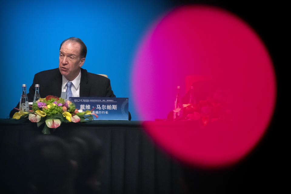 World Bank President David Malpass speaks during a press conference for the the Fourth 1+6 Roundtable Dialogue at the Diaoyutai State Guesthouse in Beijing, Thursday, Nov. 21, 2019. (AP Photo/Mark Schiefelbein)