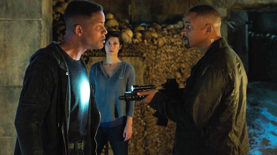 Will Smith comes face to face with his younger self in Ang Lee's new sci-fi movie 'Gemini Man'. (Credit: Paramount)