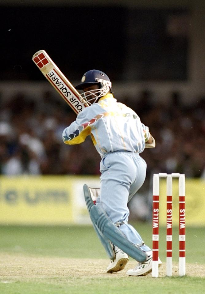 9 Mar 1996:  Vinod Kambli of India in action during the World Cup quarter-final against Pakistan at the Chinnaswamy Stadium in Bangalore, India. \ Mandatory Credit: Shaun Botterill /Allsport