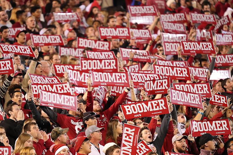 NORMAN, OK - NOVEMBER 11: A record setting crowd exchanging BOOMER and SOONER chants across the field during a college football game between the Oklahoma Sooners and the Texas Christian University Horned Frogs on November 11, 2017, at Memorial Stadium in Norman, OK. (Photo by David Stacy/Icon Sportswire via Getty Images)