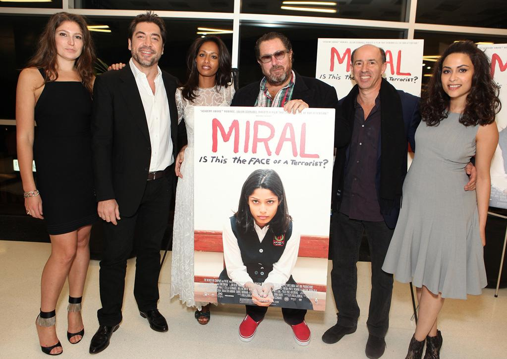 """<a href=""""http://movies.yahoo.com/movie/contributor/1800342659"""">Stella Schnabel</a>, <a href=""""http://movies.yahoo.com/movie/contributor/1800023079"""">Javier Bardem</a>, <a href=""""http://movies.yahoo.com/movie/contributor/1810076632"""">Rula Jebreal</a>, <a href=""""http://movies.yahoo.com/movie/contributor/1800020495"""">Julian Schnabel</a>, <a href=""""http://movies.yahoo.com/movie/contributor/1800021066"""">Jon Kilik</a> and <a href=""""http://movies.yahoo.com/movie/contributor/1809837236"""">Yasmine Elmasri</a> at the Los Angeles screening of <a href=""""http://movies.yahoo.com/movie/1810080186/info"""">Miral</a> on March 22, 2011."""