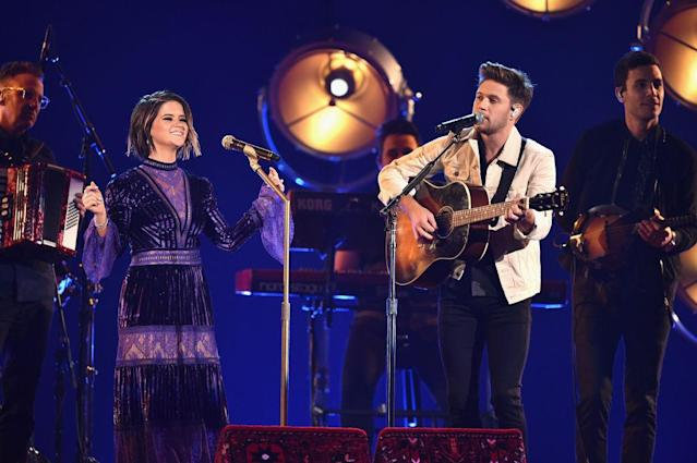 <p>Maren Morris and Niall Horan perform onstage at the 51st annual CMA Awards at the Bridgestone Arena on November 8, 2017 in Nashville, Tennessee. (Photo by John Shearer/WireImage) </p>